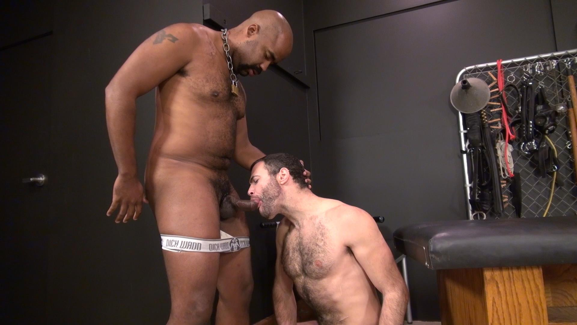 Black stud pulls cock out his boxers and gets a great blow job 7