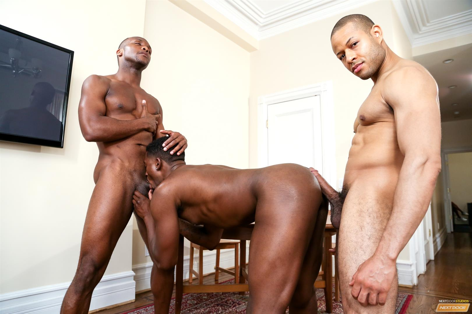 Next-Door-Ebony-Krave-Moore-and-Andre-Donovan-and-Rex-Cobra-Big-Black-Cock-Amateur-Gay-Porn-12 Three Black Guys Playing Strip Dominoes With Their Big Black Cocks
