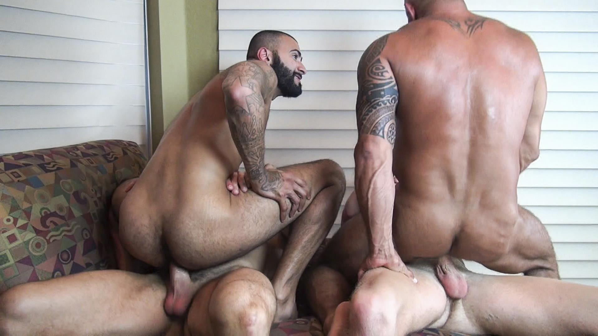 Raw-Fuck-Club-Vic-Rocco-and-Rikk-York-and-Billy-Warren-and-Job-Galt-Bareback-Daddy-Amateur-Gay-Porn-13 Four Hairy Muscle Daddies In A Bareback Fuck Fest Orgy