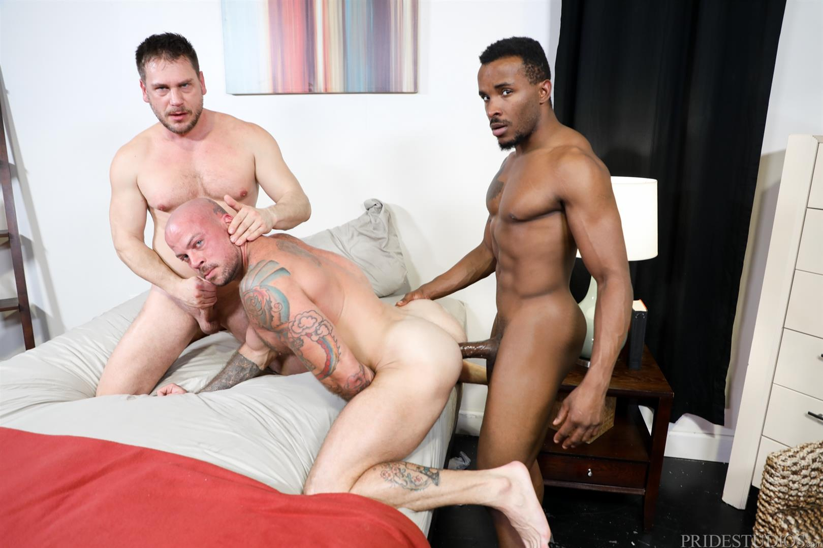 Extra-Big-Dicks-Sean-Duran-and-Hans-Berlin-and-Pheonix-Fellington-Interracial-Bareback-14 Muscle Daddies Sean Duran and Hans Berlin Share Pheonix Fellington's Big Black Cock
